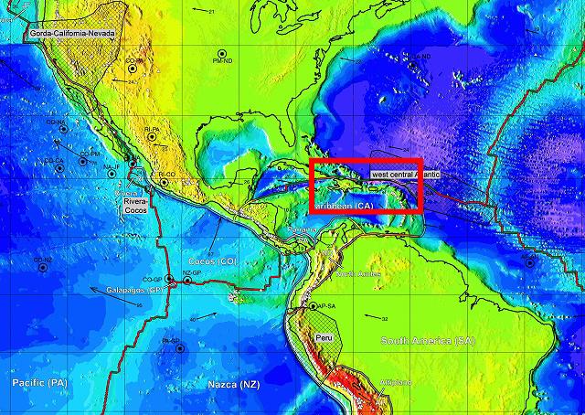 P. BirdによるPB2002モデルより.(Bird, P. (2003) An updated digital model of plate boundaries, Geochemistry Geophysics Geosystems, 4(3), 1027, doi:10.1029/2001GC000252)