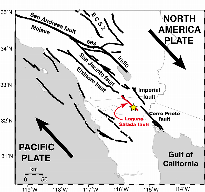 Earthquake at baja california mexico 2010 figure 1 active faults from southern california to baja california added to figure 1 of benett et atl 2004 sciox Gallery