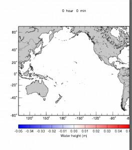 チリ津波の伝播シミュレーション  黒三角は海底津波計の位置