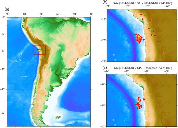 2014年チリ地震前後のM4以上の震源分布(USGSより)。(a)2014年チリ地震 の本震。赤枠は(b)と(c)の描画領域。(b)2014年3月1日から地震前までの前震活 動。(c)本震から4月2日4:20(UTC)までの余震活動。