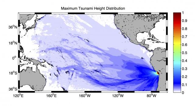 シミュレーションによる津波最大波高分布