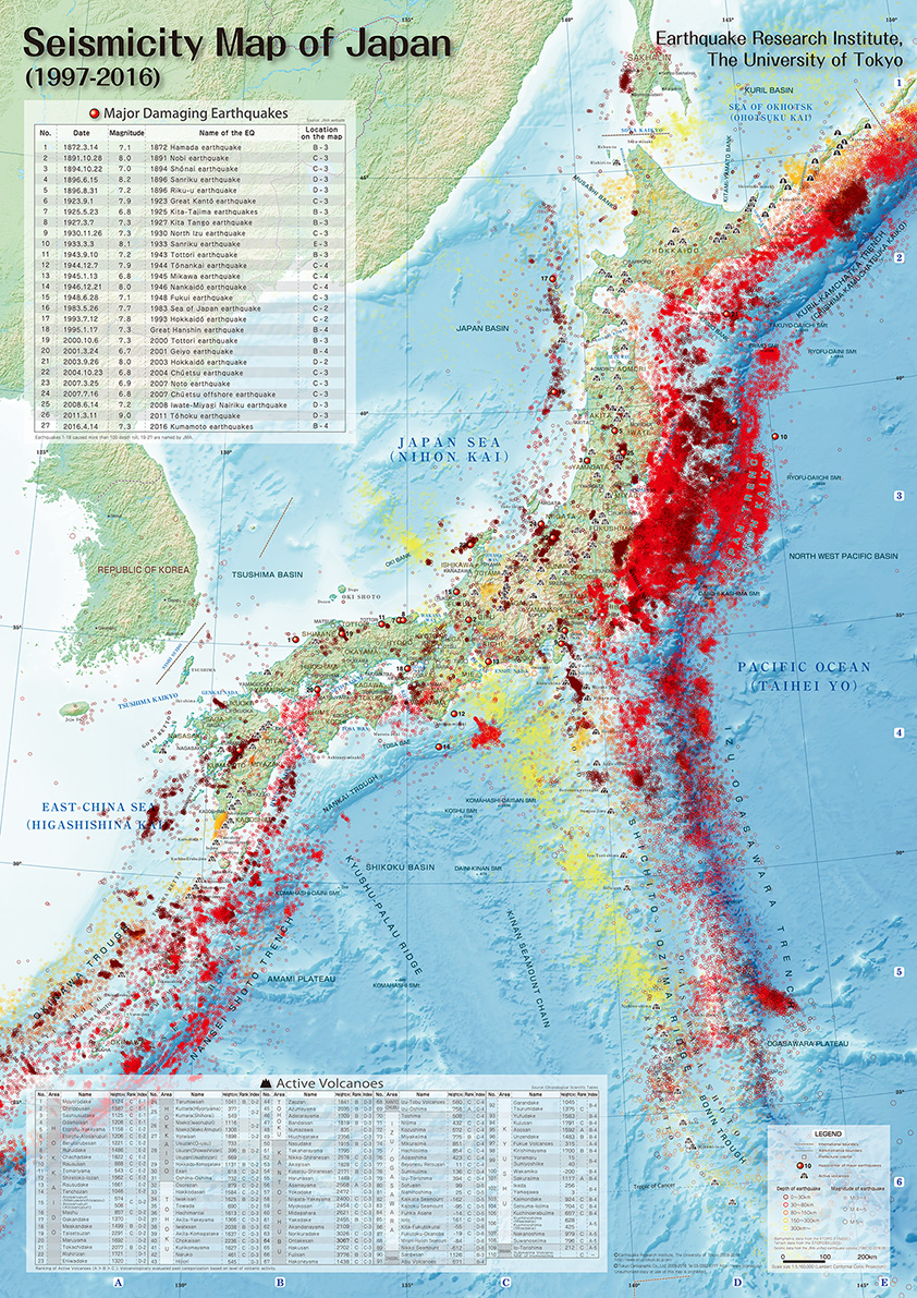 Seismicity Map Of Japan English Version In Print Earthquake - Japan map english version