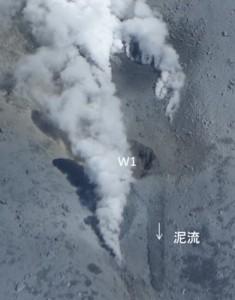 写真 1. 西側の火口.W1から泥流が噴出している.