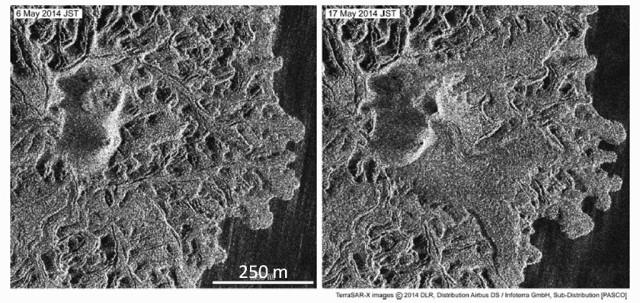 図4:TerraSAR-Xによる衛星画像 (協力: 株式会社パスコ).2014年5月6日(左)と5月17日(右)を比較すると,新しい溶岩が主火口群から東側に流出し始めていることがわかる.5月21日と6月11日には新しい火口も発見された(海上保安庁).空振観測は,これらの画像データの間を埋める連続情報として有用である.