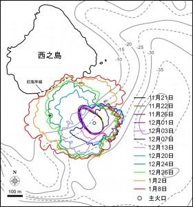 図1 西之島の新たに形成された部分の輪郭と面積変化.エラーバーは海岸線の読み取り精度から生じる誤差.2013年12月までは海上保安庁が公開している空撮写真および輪郭を参考にしているほか,2014年1月2日,8日はJAXAが公開している衛星画像,2013年12月17日までは国土地理院が公開している空撮写真,その他メディア等により報道されている空撮写真等も参考にしている.海底地形は海上保安庁水路部 (1993) ,旧西之島の輪郭は海上保安庁水路部1999年作成の地形図をもとにしている.