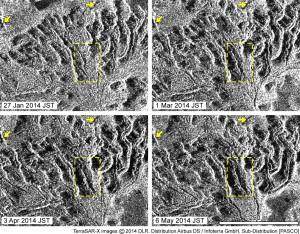 図5 TerraSAR-Xにより撮影された島北西部(旧島と新たに形成された溶岩ローブ群との境界部)の33日毎の画像.溶岩ローブの成長方向と同方向にパン皮状の亀裂(cleft)が形成され,徐々に開口,拡大していく様子が観察される.代表的な部分として,黄色波線で囲んだ部分の拡大を図6に示す.黄色矢印は目印となる旧島の溶岩.