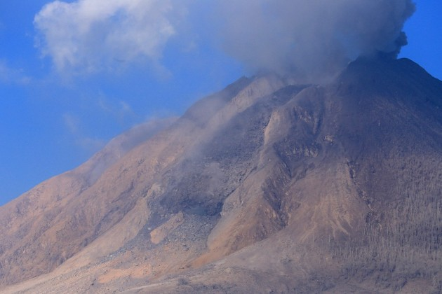 Fig. 1. Easterly view of erupting Sinabung volcano on 25 January 2014 (S. Nakada).