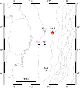 図1:2015年2月17日8時6分ごろ(日本時間)、三陸沖で地震(M6.9)が発生しました。 釜石市沖海底ケーブル式地震津波観測システムでは、この地震によると考えられる海面変動を観測しています。 津波計は、海溝側のTM1が陸から約76 kmの水深約1,600 mに、 陸側のTM2は約47 kmの水深約1,000 mの海底に設置されています。 図には、2011年3月11日に発生したM9の地震の破壊開始点の位置とその後に発生したM7.4の地震の震源を示しました。
