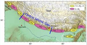 図3.Avuac (2007)による過去の巨大地震の震源域.赤印はカトマンズを示す.