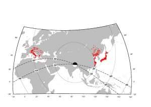 Figure 1 Station map for the European regional array (left), China array (middle), and Hi-net (right). The Focal mechanism is determined by the GCMT. Solid and dashed lines show the epicenter distances and strikes of the nodal planes, respectively.