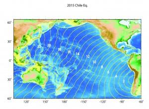 図中の数字は地震発生時(今朝8時頃)からの時間(hour)