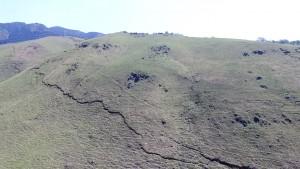 写真6 西原村小森牧野に出現した地表地震断層。岡山大所有のUAVを使用して撮影した。