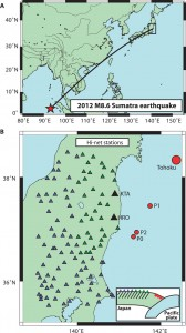 Cascading elastic perturbation in Japan due to the 2012 Mw 8.6 Indian Ocean earthquake