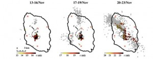 図2:微動源の分布.薄い点は地震の震央を表す.