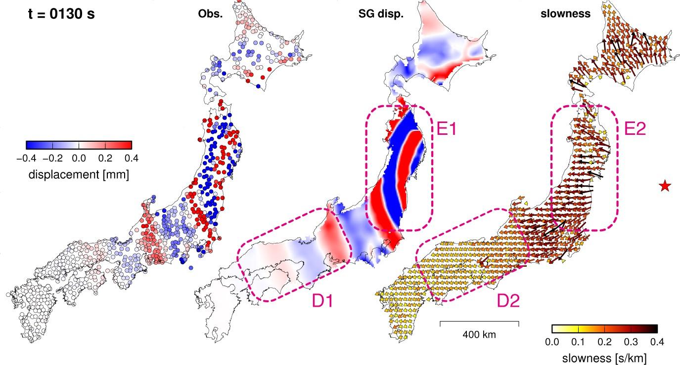 地震波勾配法による2次元地震波動場の再構築