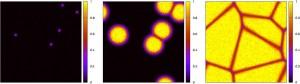図1:液体相中で固体の核が成長するモデルの時間発展。黒色の部分が液体相、黄色の部分が固体相。