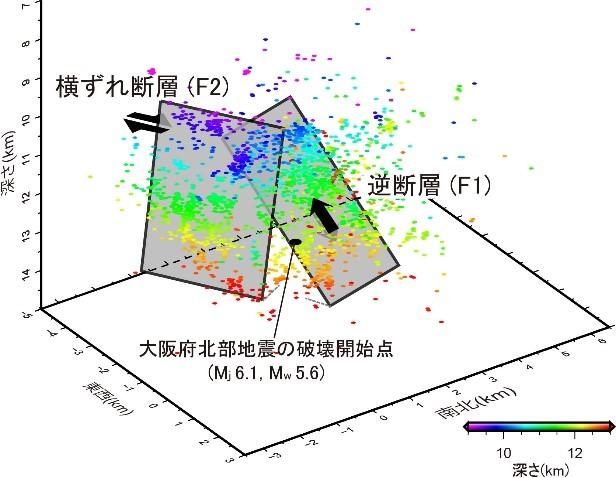 余震活動解析に基づく2018年大阪府北部地震の震源断層モデル